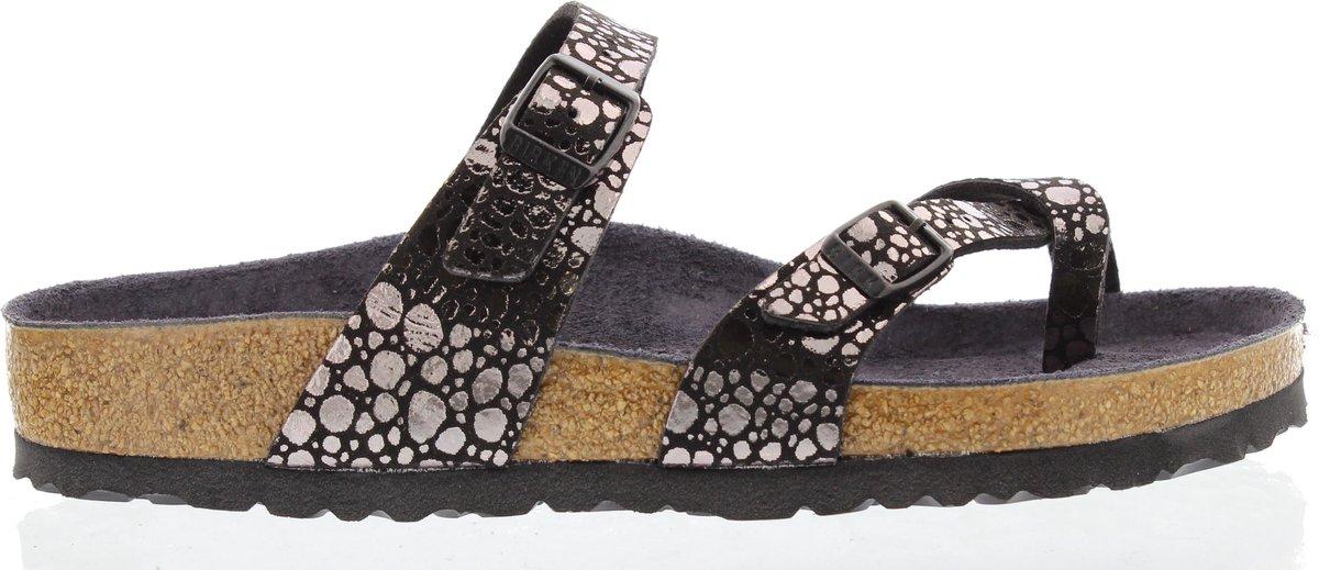 Birkenstock Mayari Dames Slippers Regular fit - Zilver/Zwart - Maat 38
