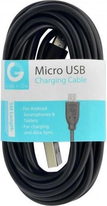 GnG Grab n Go Micro USB Kabel 3 Meter Zwart