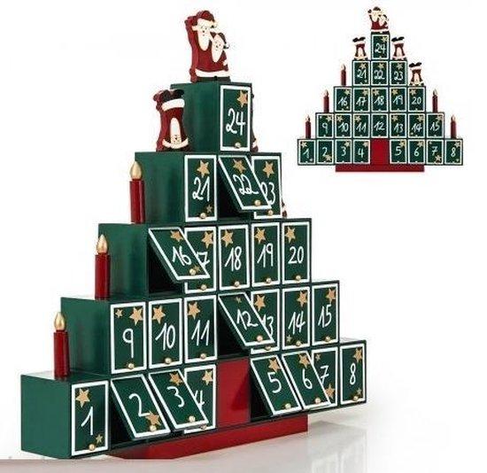 Adventkalender Kerstboom met lades - 45 x 45 x 7 cm - zelf vullen