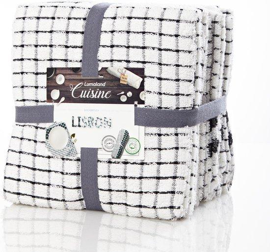 Lumaland - Handdoeken - Keukenhanddoeken - Set van 6 -  Lisbon Serie - 100% ringgesponnen katoen - 45x90 cm - Zwart