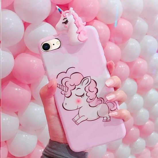 Let op type!! For iPhone 8 & 7 3D Papa Unicorn Full Coverage IMD Process Protective Back Cover Case(Pink)