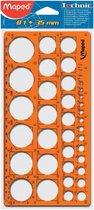 Cirkelsjabloon - voor cirkels van 1 tot 35 mm