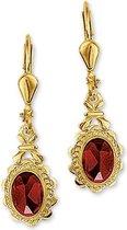 The Jewelry Collection Oorhangers Granaat - Geelgoud