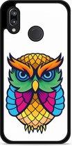 Huawei P20 Lite Hardcase Hoesje Colorful Owl Artwork