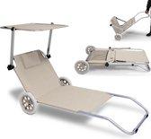 """Inklapbare strandstoel """"Kreta"""", beige , met wielen, zonnescherm"""