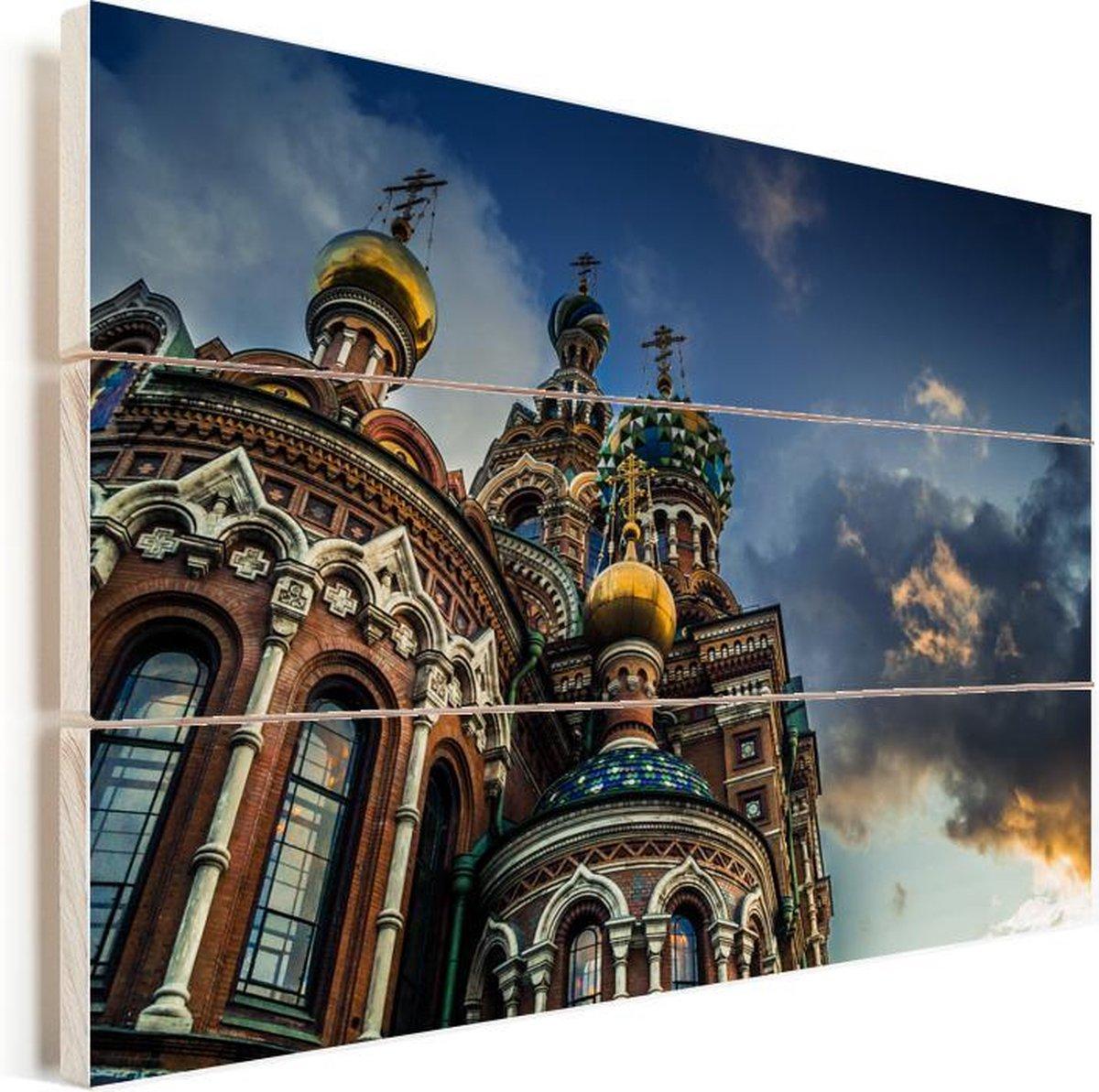 Gedetailleerde architectuur van de Kerk van de Verlosser op het Bloed Vurenhout met planken 120x80 cm - Foto print op Hout (Wanddecoratie)