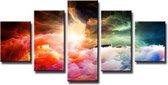 Abstract 'Koen' - Canvas Schilderij Vijfluik 160 x 80 cm