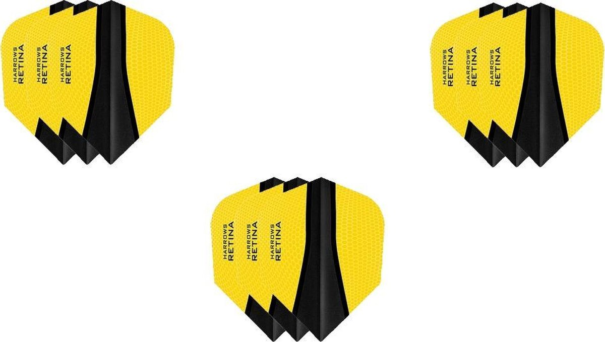 3 Sets (9 stuks) Harrows Retina dart flights Multipack - Geel