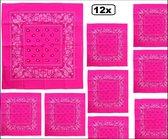 12x Zakdoek/Bandana Fluor roze 53 x 53 cm