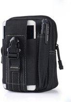 Pless® - Nylon Heuptas Waterdicht - Outdoor Anti-Diefstal Wandel/Sport/Mobiele Telefoon/Smartphone Riem Tas - Zwart - Met Survival card