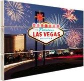 Las Vegas welkomsbord met vuurwerk Hout 80x60 cm - Foto print op Hout (Wanddecoratie)