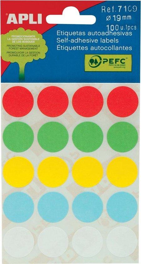 Afbeelding van Apli ronde etiketten in etui diameter 19 mm, geassorteerde kleuren, 100 stuks, 20 per blad (7109)