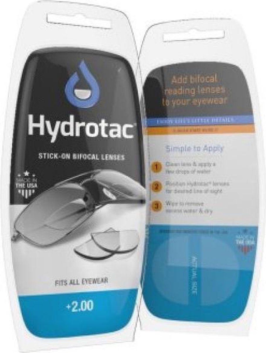Hydrotac Press-on Bifocal leeslenzen sterkte +2.00 - Plaklens