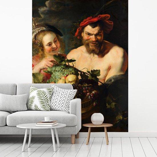 Fotobehang vinyl - Nimf en sater - Schilderij van Peter Paul Rubens breedte 190 cm x hoogte 260 cm - Foto print op behang (in 7 formaten beschikbaar)