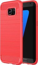 For Samsung Galaxy S7 Edge / G935 Brushed structuur Fiber TPU Rugged Armor beschermings hoesje(rood)