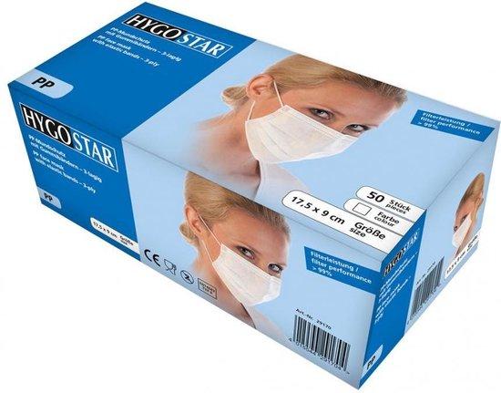 Mondmasker (medisch) 3-laags wit 2x50 stuks met oorelastiek
