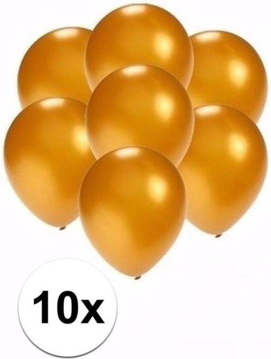 10x stuks Voordelige metallic gouden ballonnen klein formaat 13 cm - Feestartikelen/versieringen