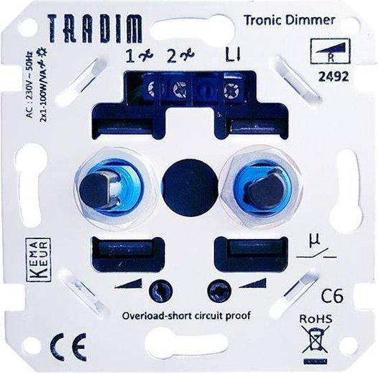 Tradim LED Duo dimmer 2 x 1-100W