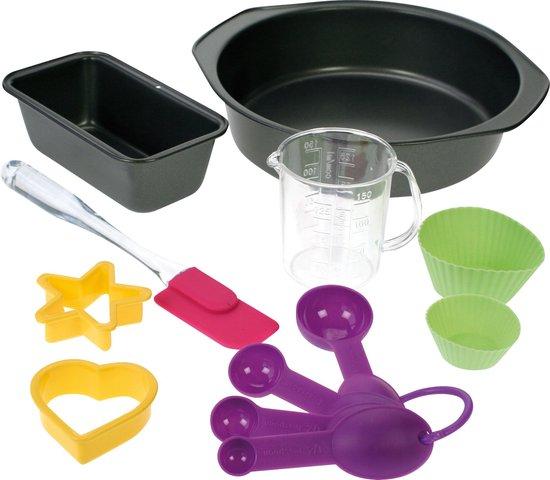 Cosy&Trendy For Kids Bakset - (2 x bakvorm - maatbeker - 2 x steekvormen - 2 x siliconen vormen - 4 maatlepels - spatel)