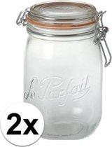 2x stuks Weckpotten/inmaakpotten met klepdeksel 0.75 liter