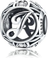 Zilveren alfabet bedel letter J met zirkonia steentjes
