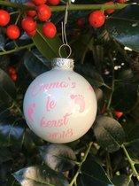 Eerste Kerstbal met Naam - Kerst TIP December - Roze & Blauw - 6 cm doorsnee