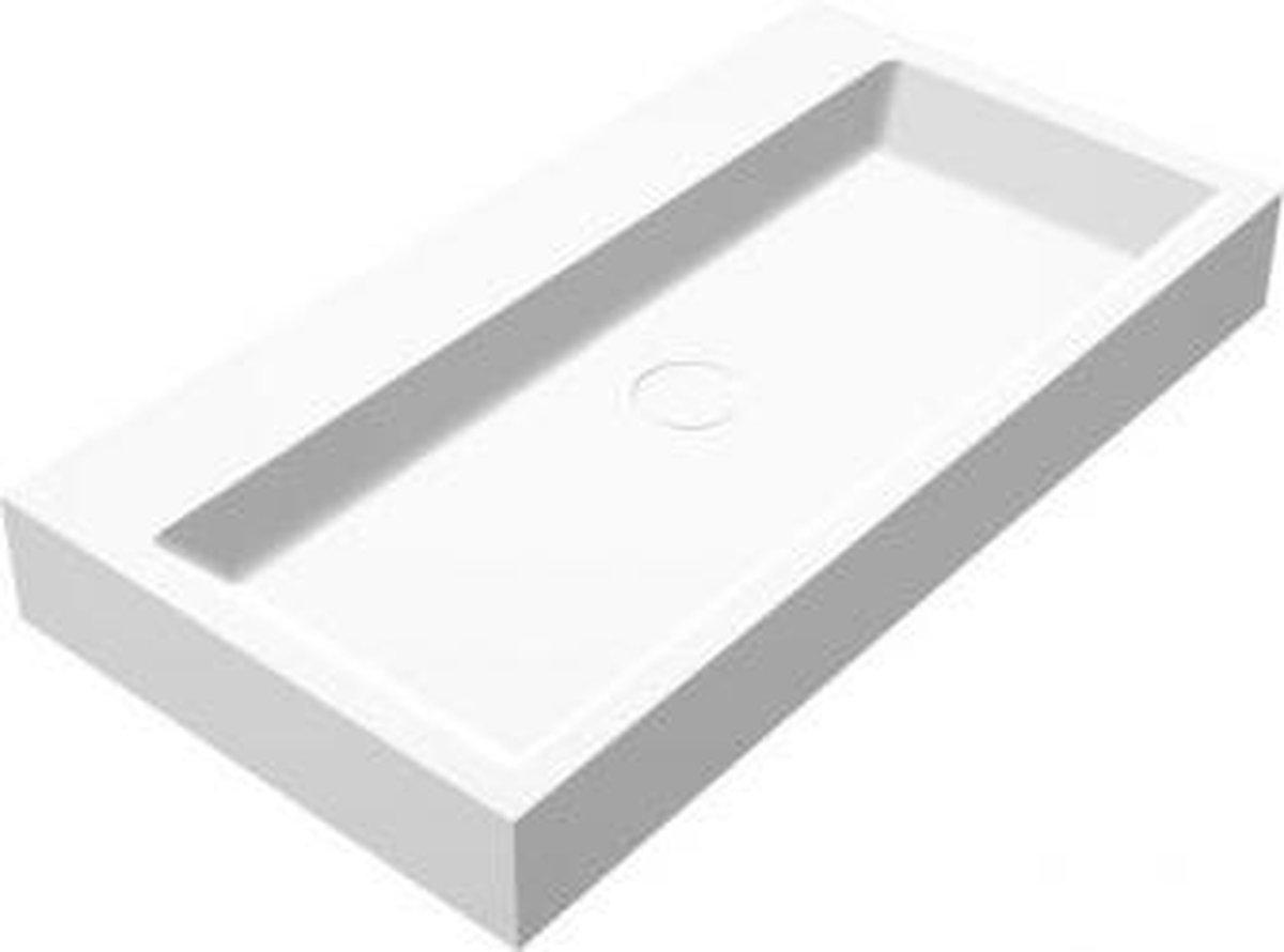 Wastafel Hangend Opera-80 Rechthoek 80x42x10cm Solid Surface Mat Wit Zonder Kraangat