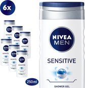 NIVEA MEN Sensitive Douchegel - 6 x 250 ml - Voordeelverpakking