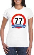 Verkeersbord 77 jaar t-shirt wit dames XL