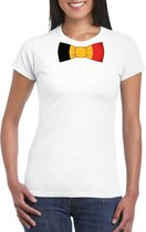 Wit t-shirt met Belgie vlag strikje dames S