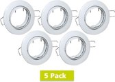 5 Pack - Led Spot Armatuur - Wit - Kantelbaar