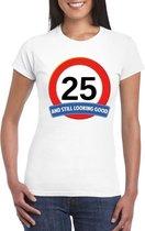 Verkeersbord 25 jaar t-shirt wit dames XL