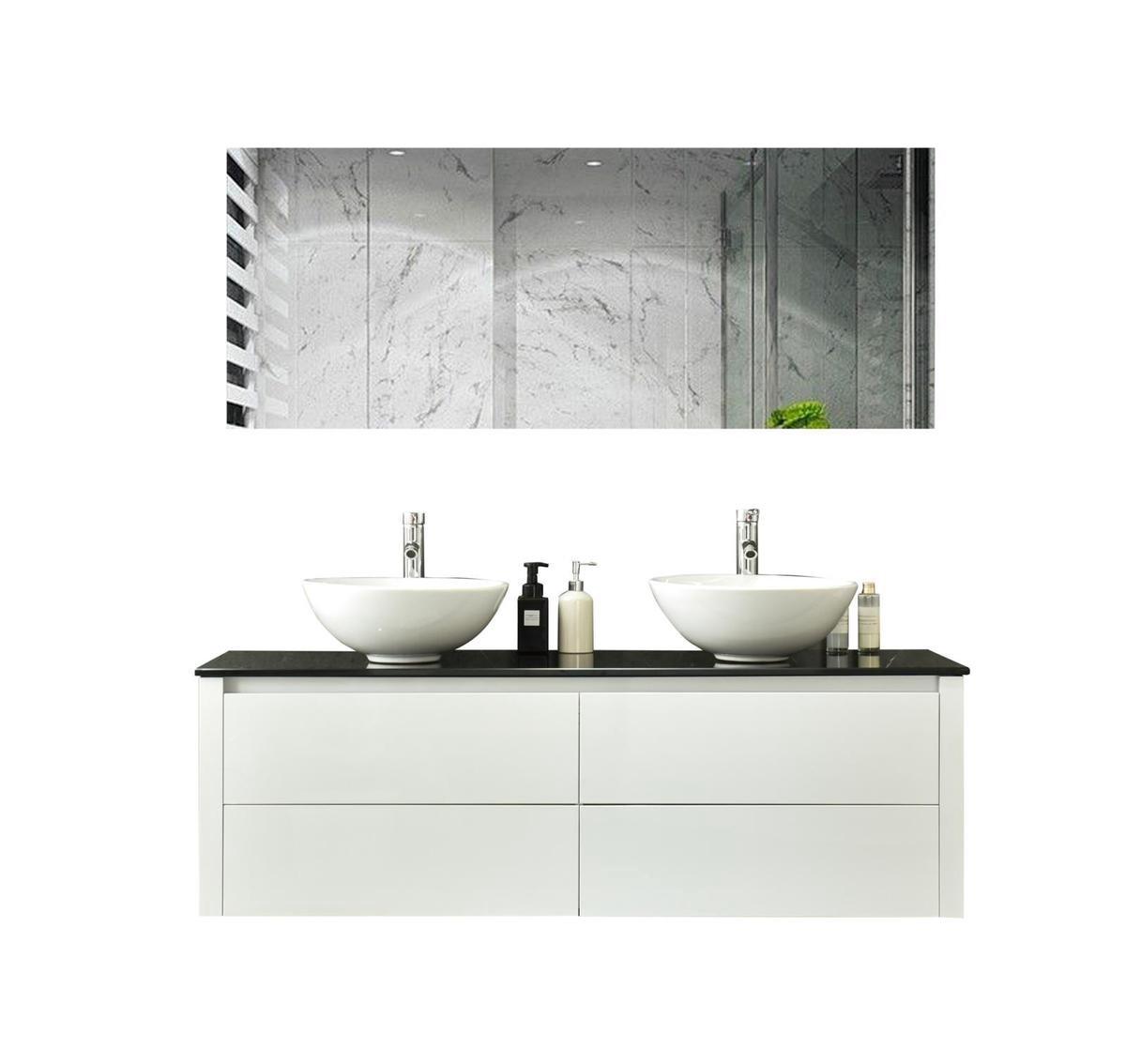 Excellent Wellness Badkamermeubel Type: 9012, 150 cm, kleur Hoogglans Wit, inclusief 2x keramiek waskom en LED-Spiegel