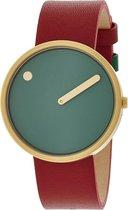 Picto 43377 horloge dames en heren - rood - edelstaal doubl�
