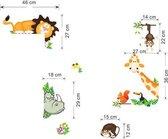 Decoratieve Muursticker Jungle Dieren - Wanddecoratie - Leeuw - Giraffe - Aap - Kinderkamer