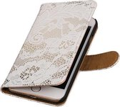 Wit Lace booktype wallet cover hoesje voor Apple iPhone 7 / 8