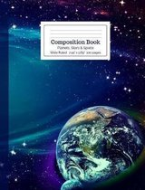 Composition Book Planets, Stars and Space Wide Ruled