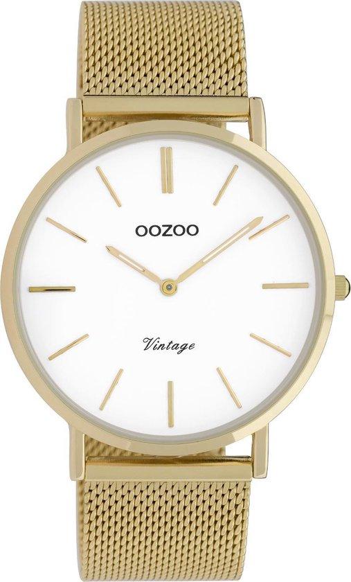 OOZOO Vintage Goudkleurig/Wit horloge (40 mm) – Goudkleurig