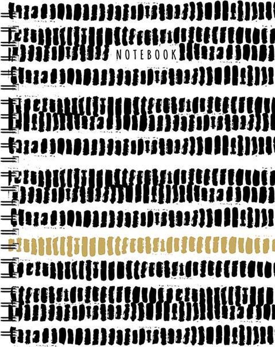 Zwart, Wit - Goud Notebook A5 - Lijn / Grand carnet à spirale noir-blanc-or