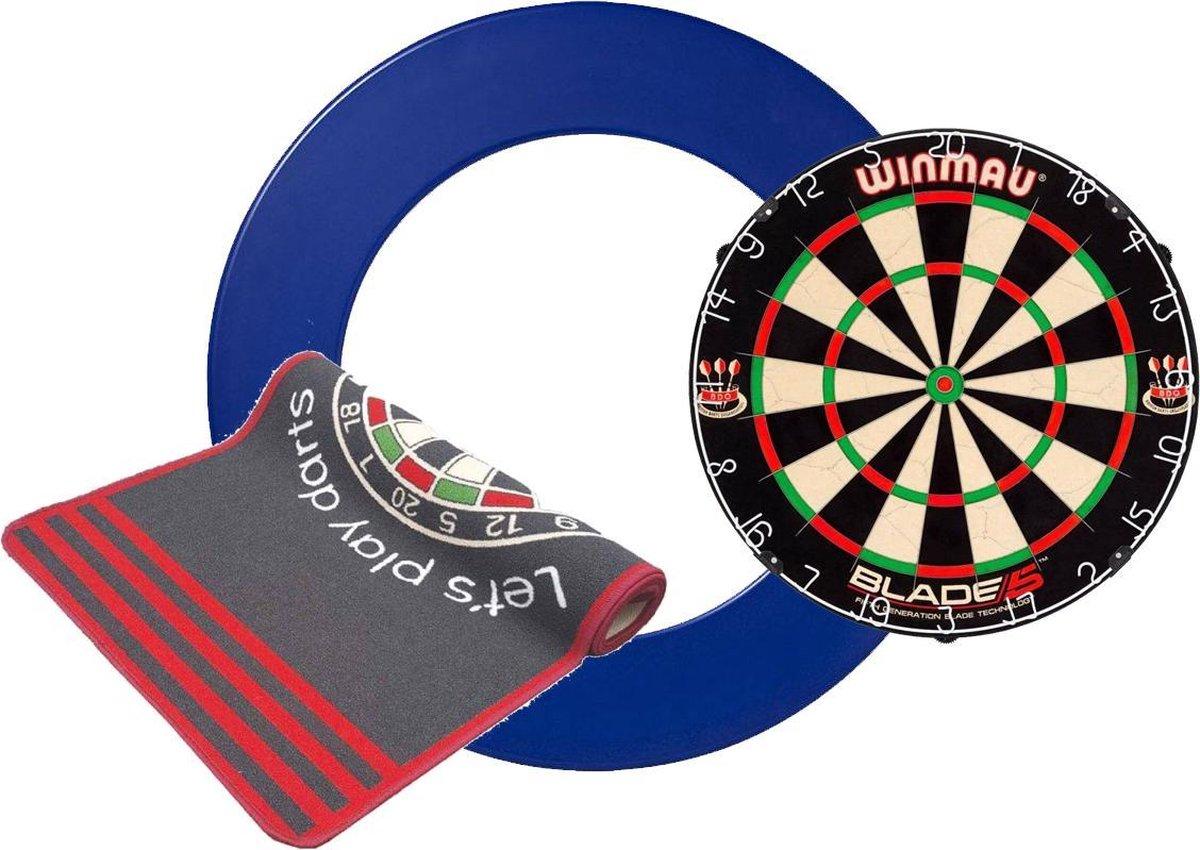 Winmau Blade 5 - Dartbord surround - Dartmat Antracite - dartbord - dartmat - surround blauw