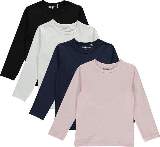 Dirkje Meisjes Shirts Lange Mouwen (4stuks) Zwart, Blauw, Lichtroze en Wit - Maat 116