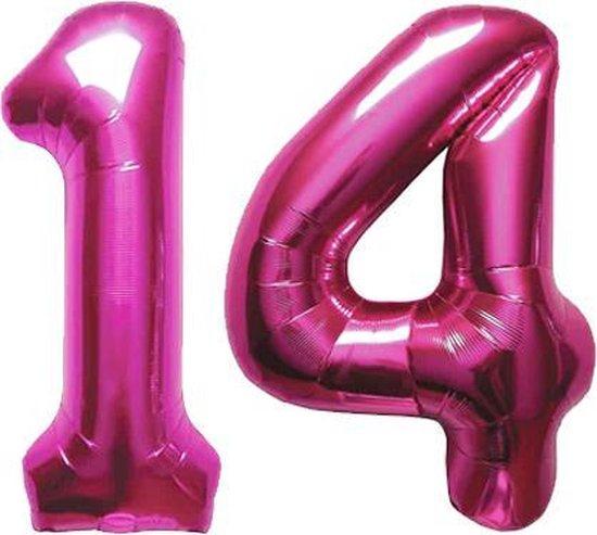 Cijfer 14 Magenta Helium 86 cm Excl. helium
