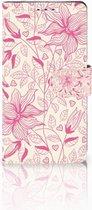 Sony Xperia XZ1 Bookcase Hoesje Pink Flowers