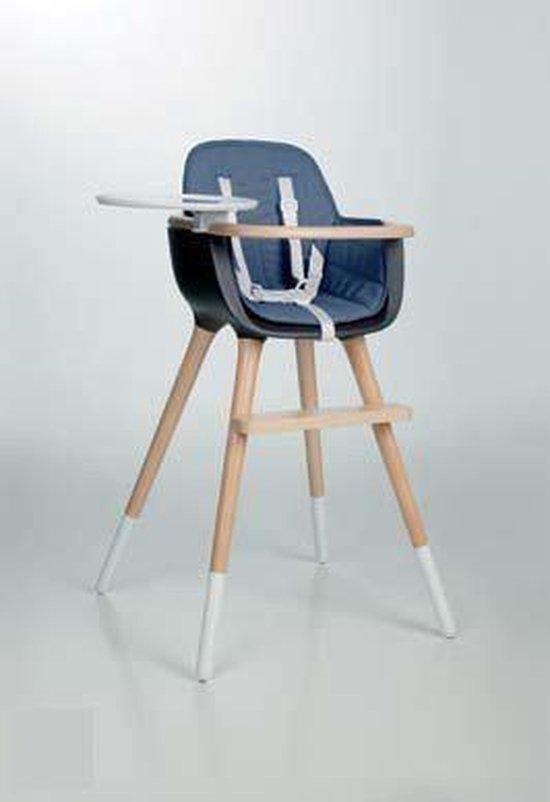 Design kinderstoel Ovo blauw met riem wit
