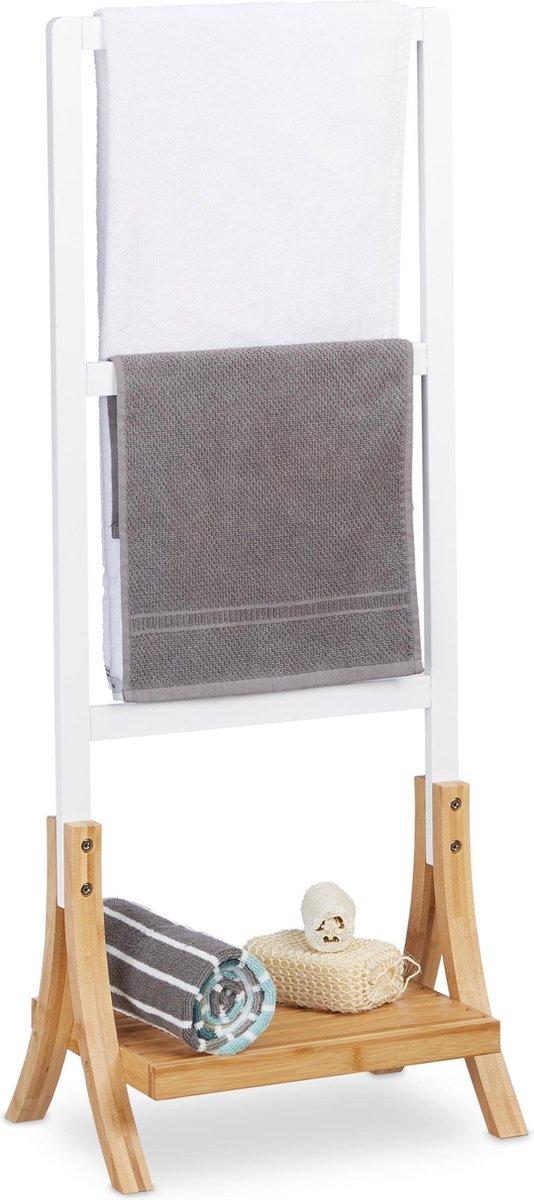 relaxdays handdoekrek staand - 3 stangen - handdoekhouder vrijstaand - handdoekenrek