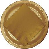 24x Kartonnen bordjes goud 23 cm - Wegwerpborden van karton - Feestbordjes - Feestartikelen tafeldecoratie