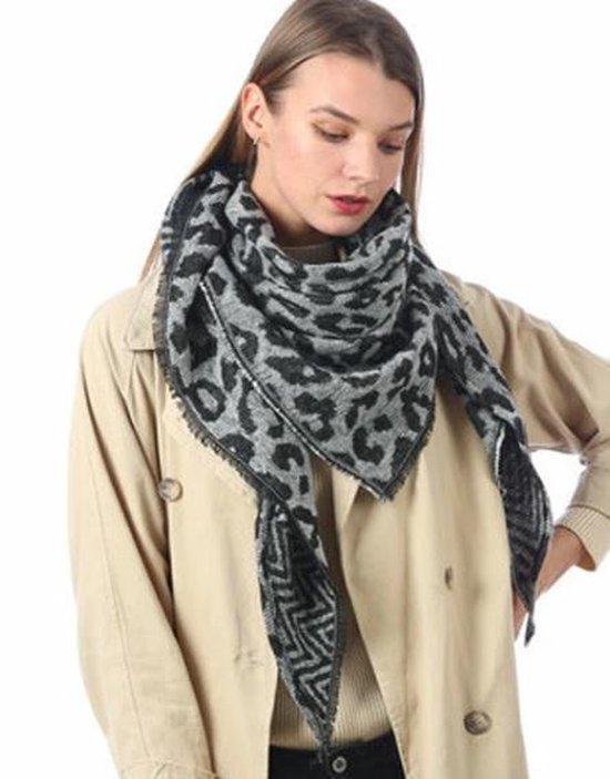 Warme winter luipaard panter leopard print driehoekige dames sjaal grijs zwart creme acryl circa 140 x 190 cm - Merkloos