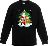Zwarte kersttrui kerstman en rendier Rudolf voor kerstboom voor jongens en meisjes - Kerstruien kind 5-6 jaar (110/116)