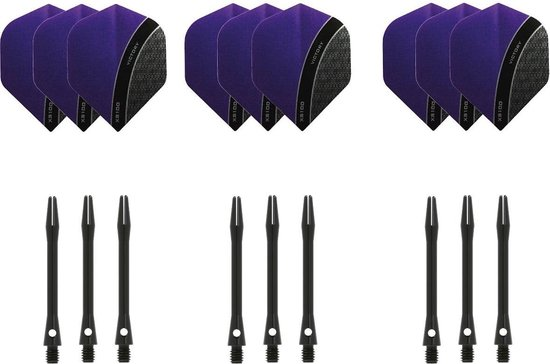 Dragon darts - 3 sets - XS100 Curve - Paars - Darts flights - plus 3 sets - aluminium - darts shafts - zwart - medium