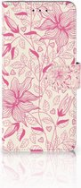 Motorola Moto E5 Plus Wallet Book Case Hoesje Pink Flowers
